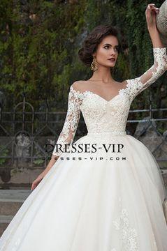 2016 Bateau Wedding Dresses 3/4 Length Sleeve With Applique Tulle US$ 269.99 VPPKN2PSHJ - dresses-vip.com