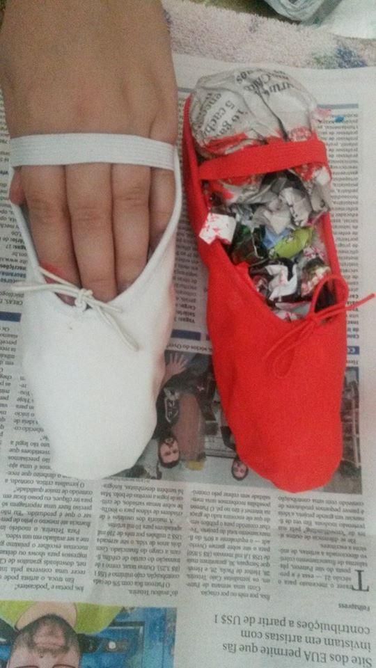 Sapatilha de Ballet:  foi pintada com tinta de tecido!