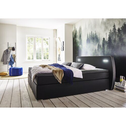 Boxspringbett Mehta Mit Topper Modernmoments Liegeflache 140 X 200 Cm Farbe Schwarz Beleuchtung Led Home Home Collections Home Decor