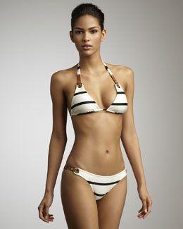 Striped Bikini with brown leather straps