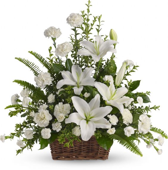 Peaceful White Lilies Basket. Very pretty!: