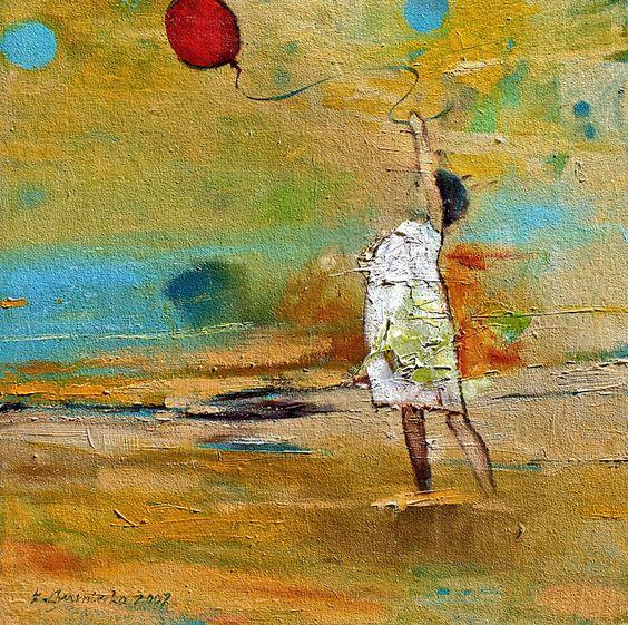 Girl with red balloon | Eva Czarniecka