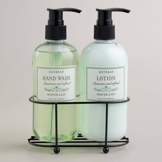 Retreat water lily liquid soap and lotion caddy 10 Hand wash and lotion caddy