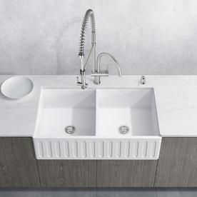 36 L X 21 W Double Basin Farmhouse Kitchen Sink With Basket