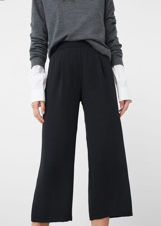 Pantalon crop à pinces - Pantalon pour Femme | MANGO France