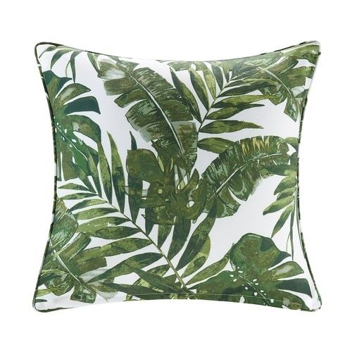 Invigorate Your Indoor Or Outdoor Space With The Lush Green Palms Square Tropical Scotchgard Tropical Throw Pillow Covers Tropical Throw Pillow Outdoor Pillows