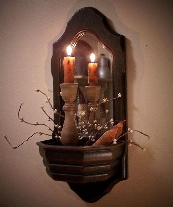 Colonial Wall Pocket Mirror Cubby Shelf Gathering by Sawdusty, $30.00
