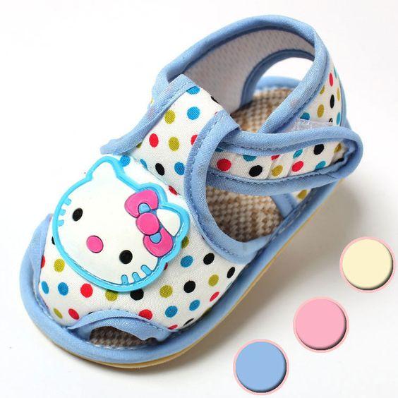 Sıcak satış! Bebek ayakkabıları marka yeni doğan bebek kız/erkek ilk yürüyüşe hello kitty sandalet ayakkabı yenidoğan prewalker kanvas ayakkabılar(China (Mainland))
