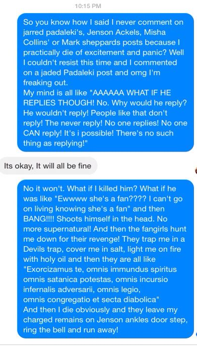 I freaked out after commenting on Jared Padaleki's Facebook post! My friend couldn't quite identify with my pain... #Supernatural