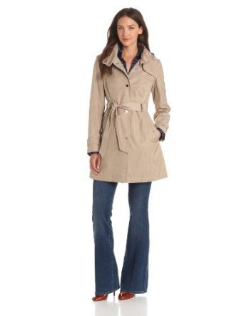 Amazon.com: Tommy Hilfiger Women's Snap-Front Hooded Rain Trench Coat: Clothing