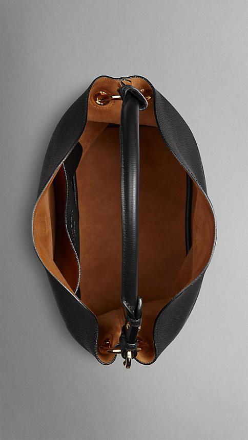 Black Medium Buckle Detail Leather Hobo Bag - Image 5