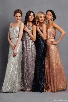 donna morgan bridesmaid dress multi color bridesmaids gowns metallic pailette beading silver grey taupe blue copper rose gold