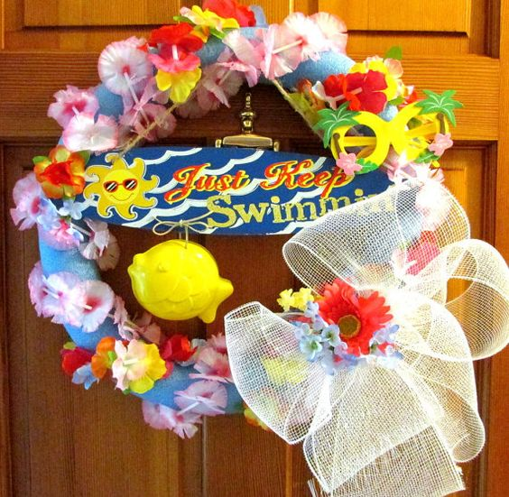 Summer wreath for door whimsical wreath by Southernbornnblessed, $39.00