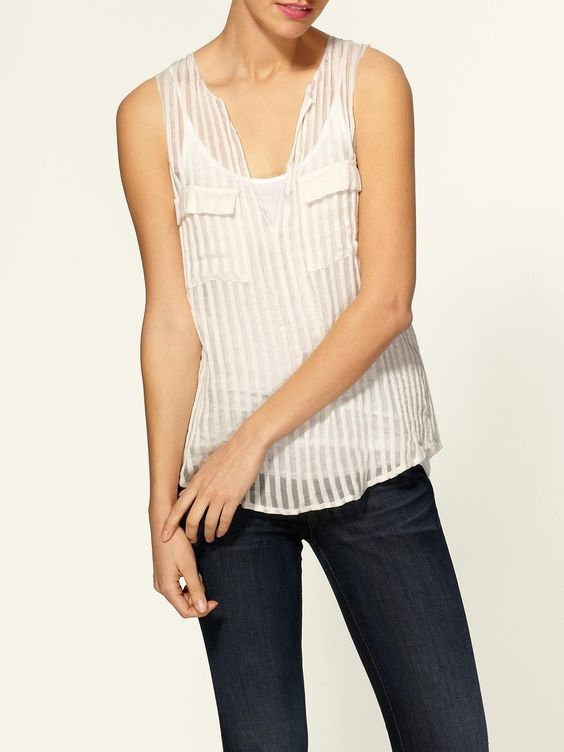 Ludvine Shadow Stripe Matte Top  by Joie