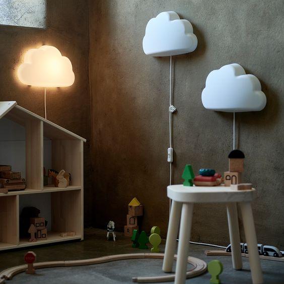 子ども部屋 照明 イケア 雲 かわいい ウォールランプ