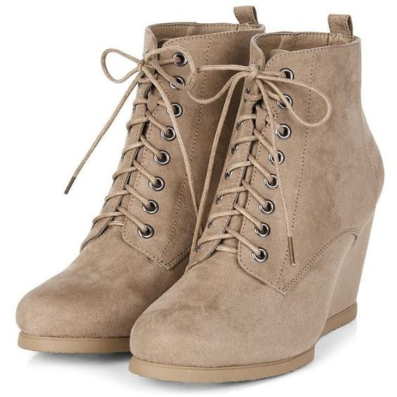 Light Brown Lace Up Wedge Boots (£25) ❤ liked on Polyvore featuring shoes…