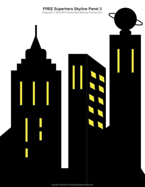 Free Superhero Printables - #Superhero building skyline, 4 different building patterns ...