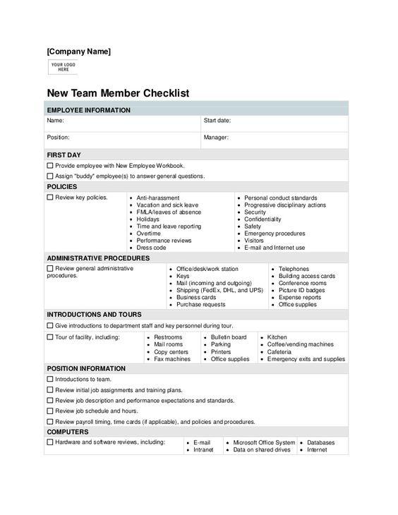 new employee orientation checklist template hr