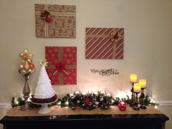 Image result for wrap wall pictures for christmas | Easy decorations | fast and cheap ways to decorate | simple ways to decorate | easy christmas ideas | fast and simple ways to decorate | house decorating | home decor | easy decor