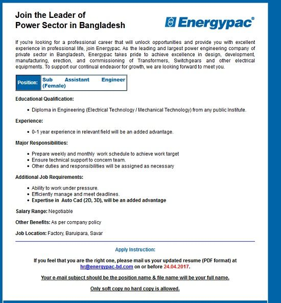 Energypac Job Circular 2017Sub Assistant Engineer Job Circular - Mechanical Engineer Job Description