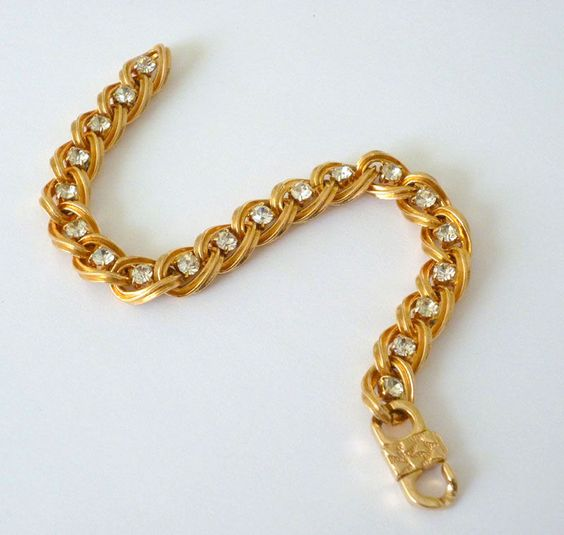 Vintage Tennis Bracelet with Clear Rhinestones - product image