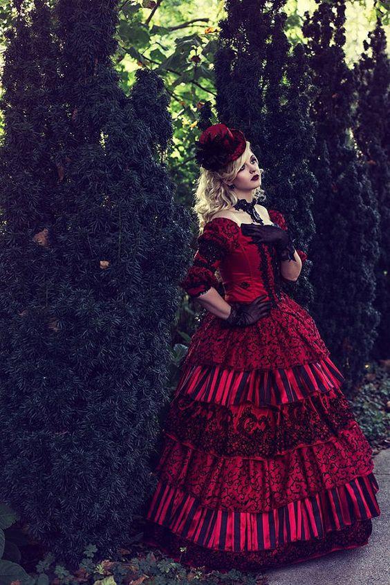 Encontre mais Vestidos Informações sobre Top venda Masquerade circo de casamento vestido de baile gótico vitoriano férias Red preto 3 peça Set um de um tipo! Tamanho médio, de alta qualidade cor do cabelo meio vermelho, médio formato de câmera digital China Fornecedores, Barato vestido de noiva de Victorian Dress | Prom Dress | Party Dress| Wedding Dress em Aliexpress.com