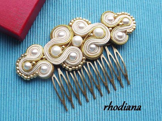 Złoto & Wanilia - wyjątkowy grzebień do włosów w rhodiana na DaWanda.com