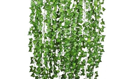12 Pcs Artificial Hanging Ivy Leaf 7.9 Feet Vine Garland Leaves