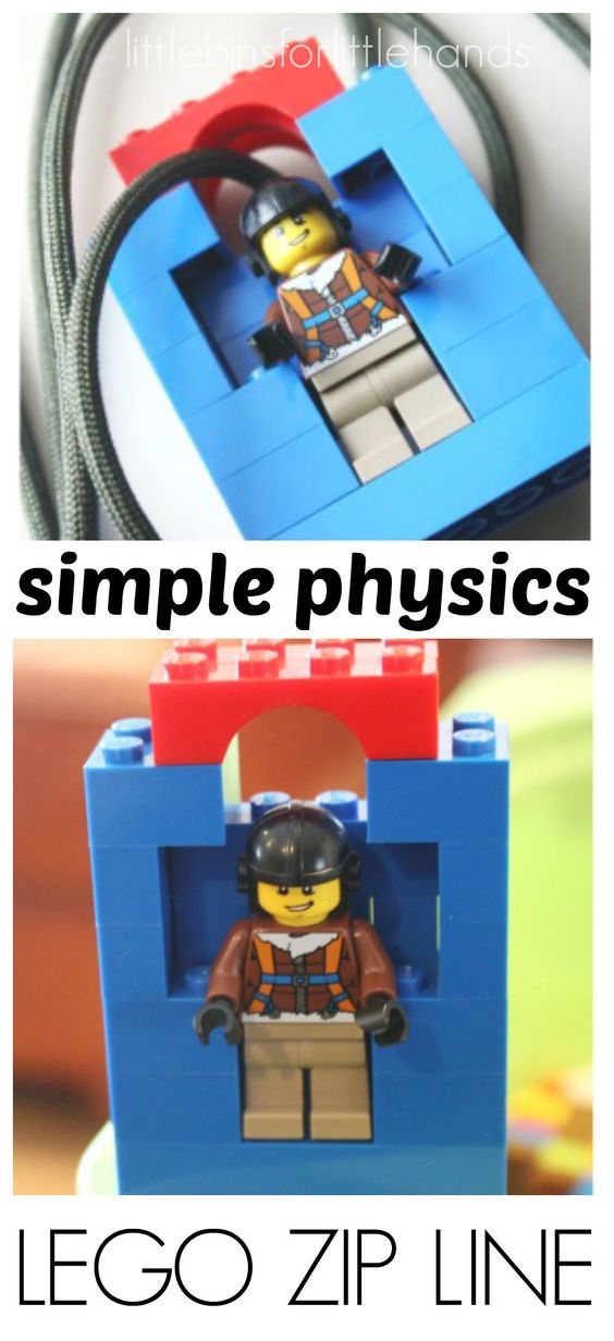 Lego Zip Line Homemade Toy Zip Line for Kids. Simple STEM for young kids. Simple LEGO building idea to show physics of ramps, angles, tension, gravity and more. Engineer a LEGO toy zip line. Great rainy day project with common items!