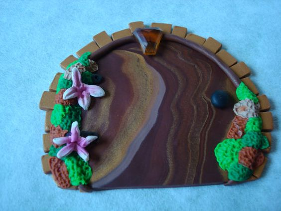 Moss Covered FAIRY DOOR  OOAK Polymer Clay Magical by @KatersAcres, $14.95
