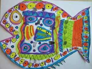 Fish art from Georgetown Elementary Art Blog - Great for Oceans theme