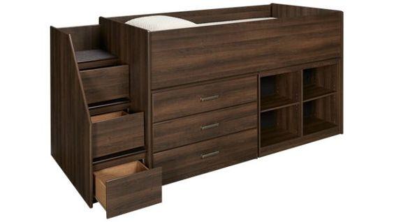 Ashley-Juararo-Juararo Twin Captain Bed with Bookcase and Storage Drawers - Jordan's Furniture