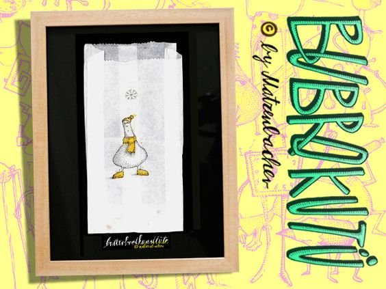 """Butterbrotkunsttüte """"winter""""- gerahmt! von Die Bubrokutü auf DaWanda.com"""