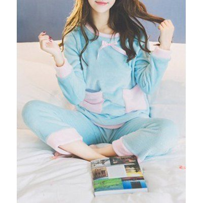 $23.28 (Buy here: http://appdeal.ru/c9wg ) Sweet Round Neck Color Block Long Sleeve Sleepwear For Women for just $23.28