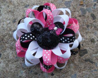 Disney Hair Bow Mickey Mouse Hair Bow Minnie by MyLuckyHairBow