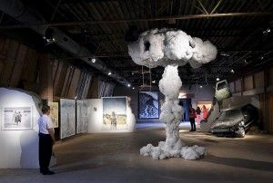 The Destructive Power of the Atomic Bomb, unleashing forces of Nature, now on display in museal setting of Dismal. the distopian thema parc by Bansky