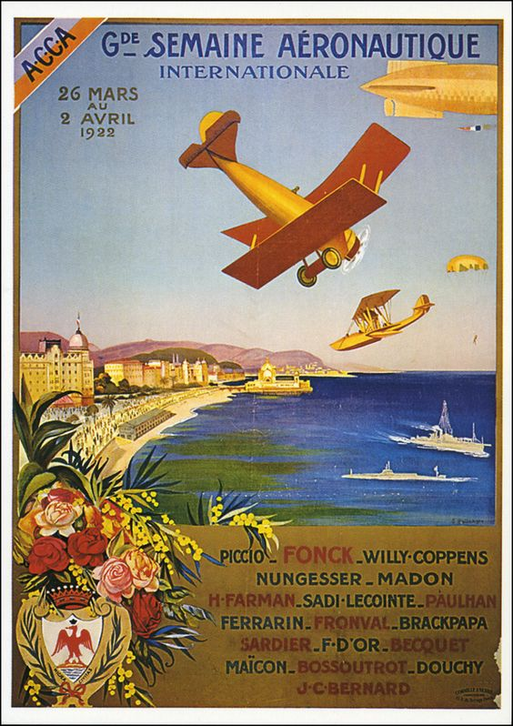 Postcard of a reprint of poster for an aeronautical / aviation meeting in Nice in 1922.