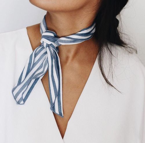 Striped  white and blue neck scarf. Would be cute with an off the shoulders white top! @mayaaa23: