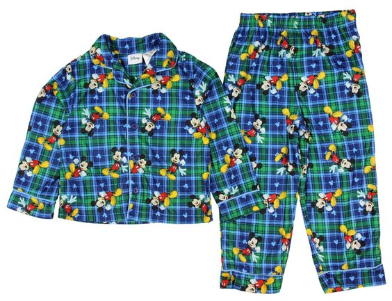 Disney Mickey Mouse Little Boys Toddler Cotton Pajama Set (18 Months). Officially Licensed. Machine Wash Cold/Tumble Dry Low. Soft Plaid Pajamas With Mickey Allover Print. Flame Resistant Material. Listed In Toddlers Sizing.