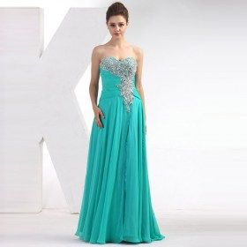 Sweetheart Strapless Beading Crystal Handmade Pleated Evening Dress
