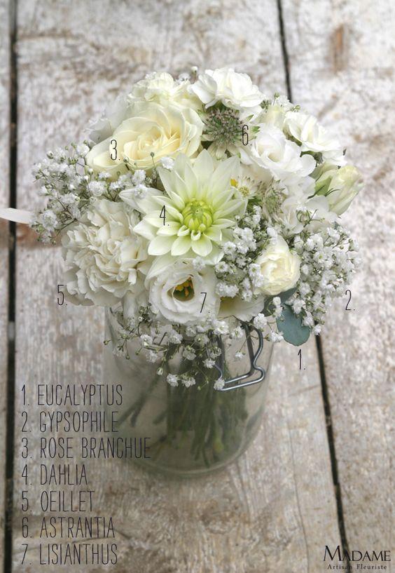 Bouquet de mariee blanc la mariee aux pieds nus - Petit bouquet de table ...