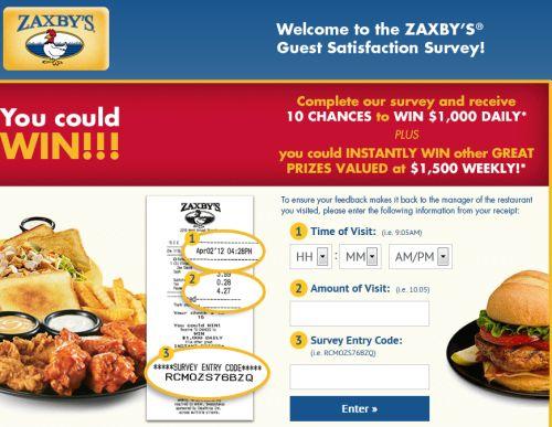 My ZaxbyS Guest Satisfaction Survey WwwMyzaxbysvisitCom