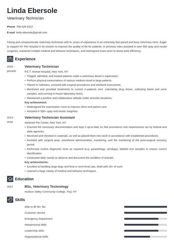 Veterinary Technician Resume Example Template Newcast Job Resume Examples Resume Examples Guided Writing