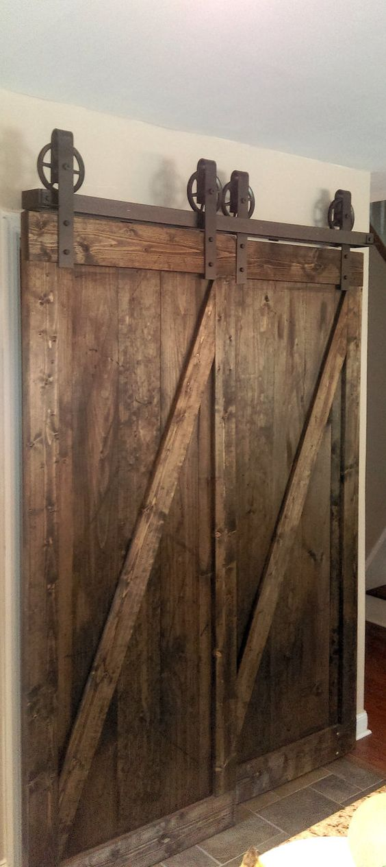 Bypass Vintage Spoked Sliding Barn Door Closet by TheWhiteShanty: