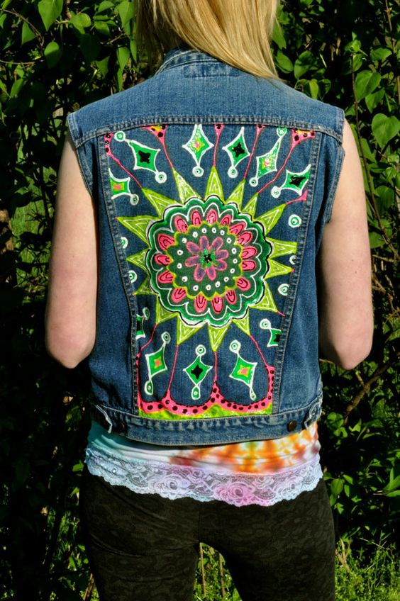 Hand Painted Trippy Neon Denim Vest by VirginiaCustomDesign, $25.00