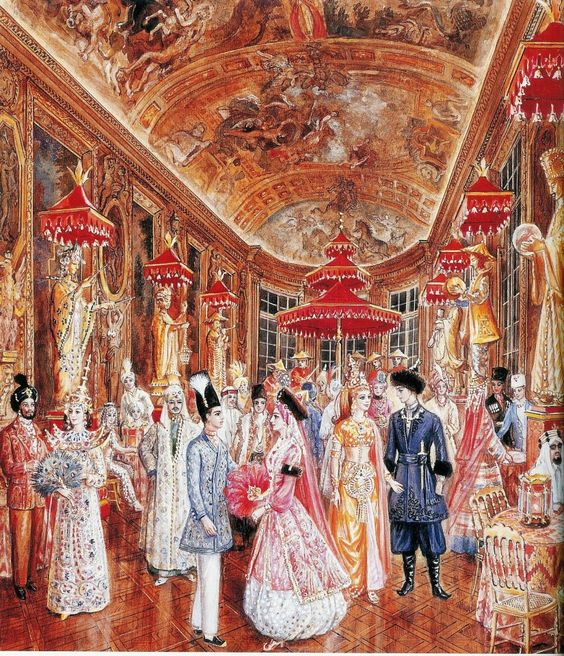 From left to right; Madame Aimée de Heeren, Vicomtesse Jacqueline de Ribes, Baroness Marie-Hélène de Rothschild and Baron Alexis de Redé at Oriental Bal at Hôtel Lambert in Paris. Illustration by Alexandre Serebriakoff (1907-1994)