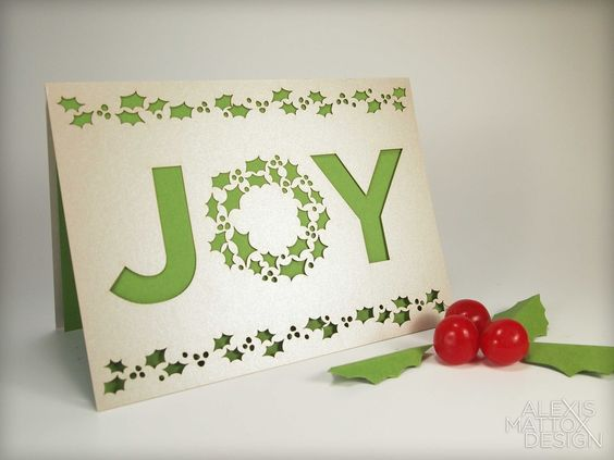 Laser Cut Christmas Joy Card from Alexis Mattox Design.  A great way to share Joy with your family and friends this holiday season!