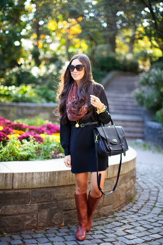 Black dress paired with colored scarf and riding boots. Perfect casual formal fall outfit. Love the whole look.: