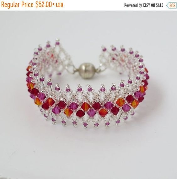 SALE Swarovski crystal bracelet Red crystal by LioraBJewelry