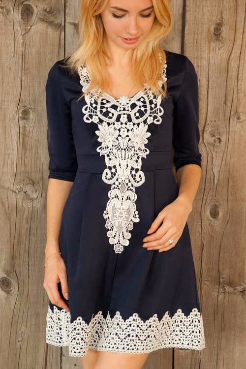 Looking Good Crochet Lace Patchwork Shift Dress
